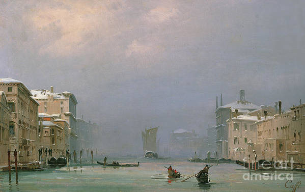 Winter Print featuring the painting Grand Canal With Snow And Ice by Ippolito Caffi