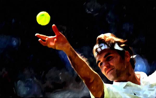 Roger Federer Tennis 1 Print featuring the painting Roger Federer Tennis 1 by Lanjee Chee