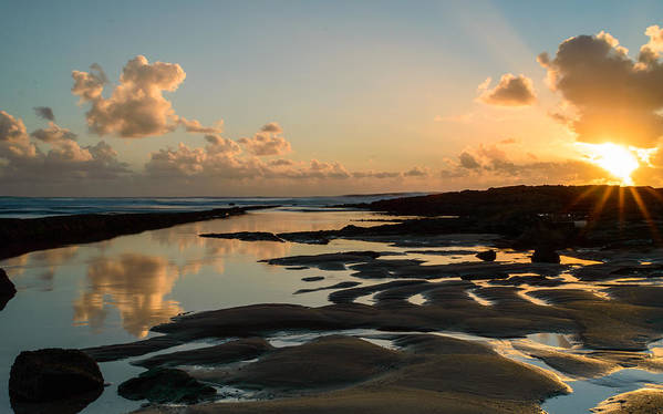 Sea Print featuring the photograph Sunset Over The Ocean IIi by Marco Oliveira
