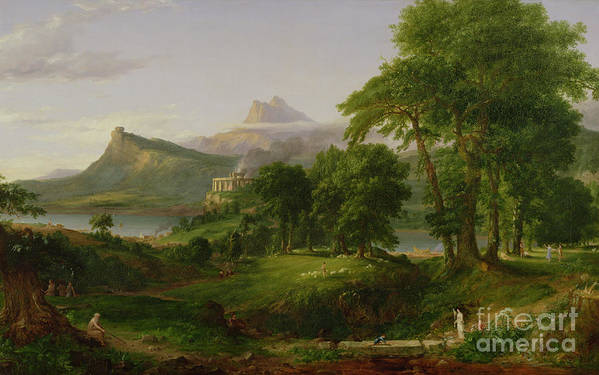 Thomas Print featuring the painting The Course Of Empire  The Arcadian Or Pastoral State by Thomas Cole