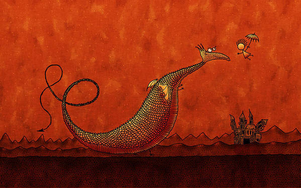 Abstract Print featuring the drawing The Friendly Dragon by Gianfranco Weiss