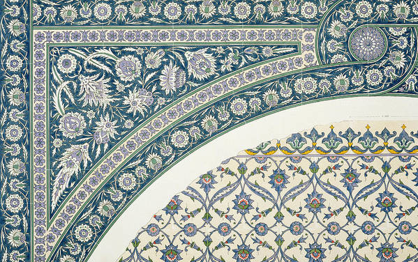 18th; Faience; Tile; Pattern; Border; Egyptian; Arabic; Foliate; Arabesque; Arabesques; North African Print featuring the drawing Wall Tiles Of Sibyl D Abd-el Rahman Kyahya From Arab Art As Seen Through The Monuments Of Cairo by Emile Prisse d Avennes