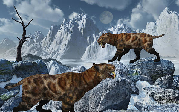 Digitally Generated Image Print featuring the digital art A Pair Of Sabre-toothed Tigers by Mark Stevenson