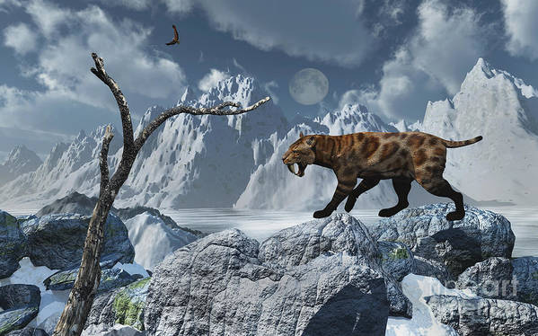 Digitally Generated Image Print featuring the digital art A Lone Sabre-toothed Tiger In A Cold by Mark Stevenson