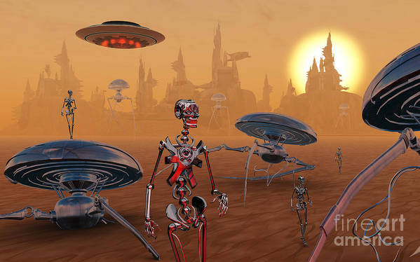 Digitally Generated Image Print featuring the digital art Artists Concept Of Life On Mars Long by Mark Stevenson