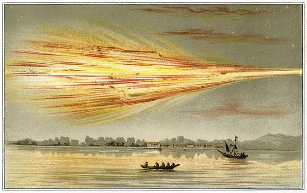 Human Print featuring the photograph Meteorite Explosion, Historical Artwork by Detlev Van Ravenswaay