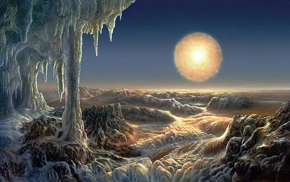 Alien Landscape Print featuring the painting Ice World by Don Dixon