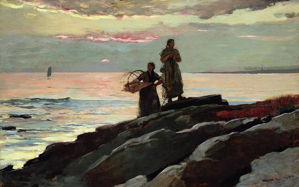 Winslow Homer Print featuring the painting Saco Bay by Winslow Homer