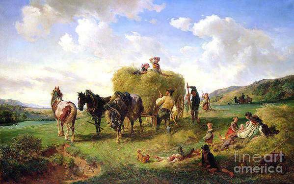 The Print featuring the painting The Hay Harvest by Hermann Kauffmann