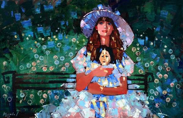 Oil On Canvas Print featuring the painting My Pierrot by Anastasija Kraineva
