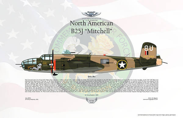 North American Print featuring the digital art North American B-25j Mitchell Yellow Rose by Arthur Eggers