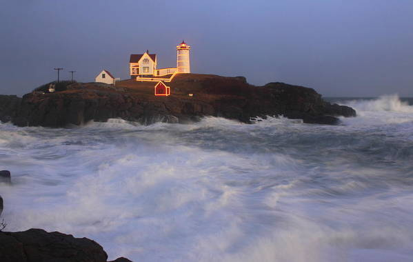 Maine Print featuring the photograph Nubble Lighthouse Holiday Lights And High Surf by John Burk
