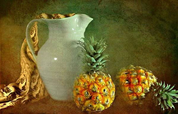 Still Life Print featuring the photograph Pitcher With Pineapples by Diana Angstadt
