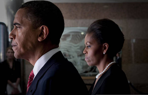 Barack Obama Print featuring the photograph President And Mrs Obama by Mountain Dreams