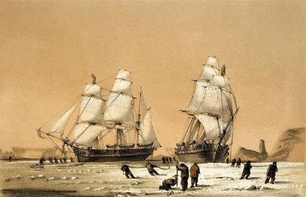 Hms Enterprise Print featuring the photograph Ross Arctic Search Expedition, 1848-9 by Science Photo Library