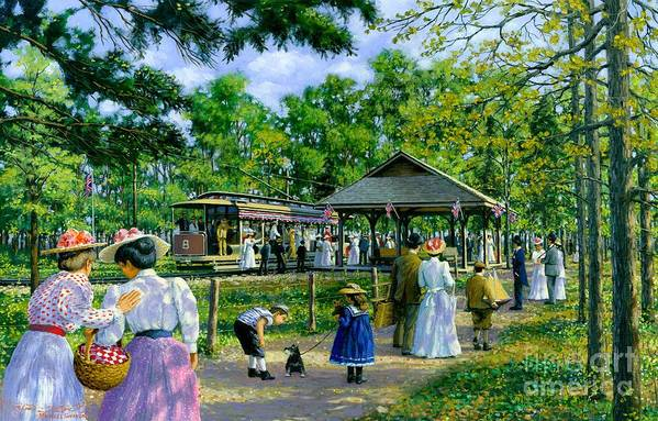Sunday Picnic Print featuring the painting Sunday Picnic by Michael Swanson