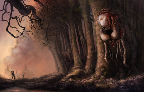 Woman Print featuring the painting The Fabled Giant Women Of The Woods by Ethan Harris