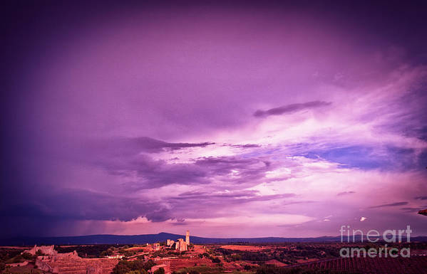 Italian Print featuring the photograph Tuscania Village With Approaching Storm Italy by Silvia Ganora