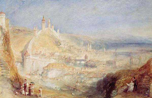 Lucerne From The Walls Print featuring the painting Lucerne From The Walls by Joseph Mallord William Turner