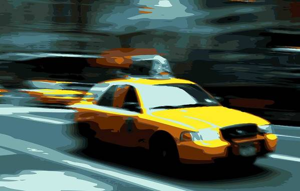 Taxi Print featuring the photograph Nyc Taxi Color 16 by Scott Kelley