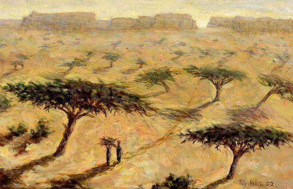African; Arid; Tree; Acacia Trees; Plain; Plains; Barren; Dry; Shadows; Heat; Hot; Desert; Heat; Landscape; Sahelian; Acacia; Africa Print featuring the painting Sahelian Landscape by Tilly Willis