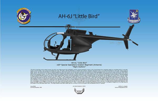 Ah-6j Print featuring the digital art Ah-6j Little Bird by Arthur Eggers