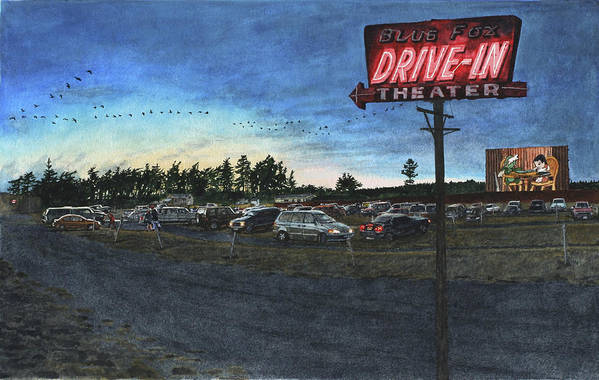 Drive-in Print featuring the painting Blue Fox by Perry Woodfin