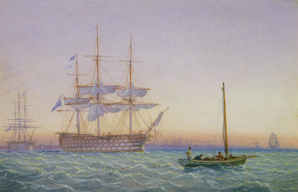 Frigates Print featuring the painting Hm Frigates At Anchor by John Joy