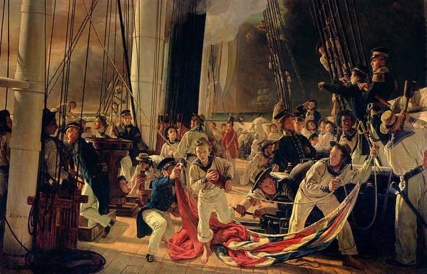 The Print featuring the painting On The Deck During A Sea Battle by Francois Auguste Biard