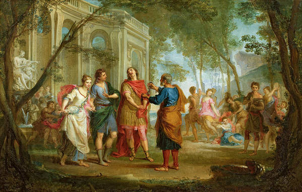 Roland Print featuring the painting Roland Learns Of The Love Of Angelica And Medoro by Louis Galloche