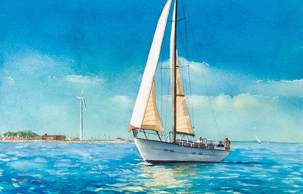 New England Print featuring the painting Sailing Through The Gut by Laura Lee Zanghetti