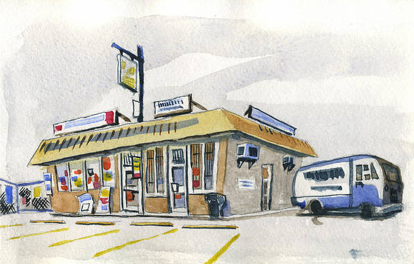 Urban Print featuring the painting Sandwich Shop by Ashley Lathe