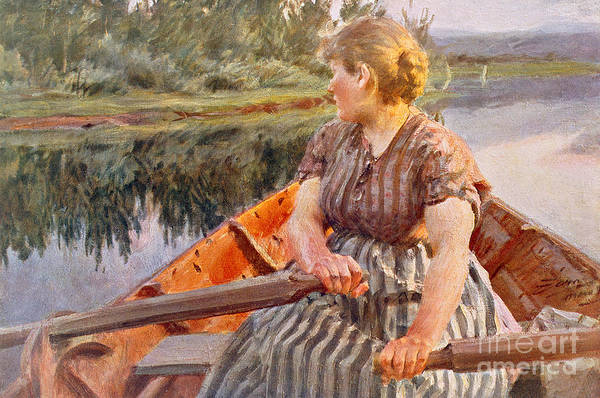 Midsummer; Mid-summer; Summer; Season; Seasons; Night; Boat; Boats; Boating; Row; Rowing; Lake; River; Water; Reflection; Landscape; Riverbank; Female; 1930s; 30s; Thirties; Turning; Looking; Backwards; Direction; Leisure Print featuring the painting Midsummer Night by Anders Leonard Zorn