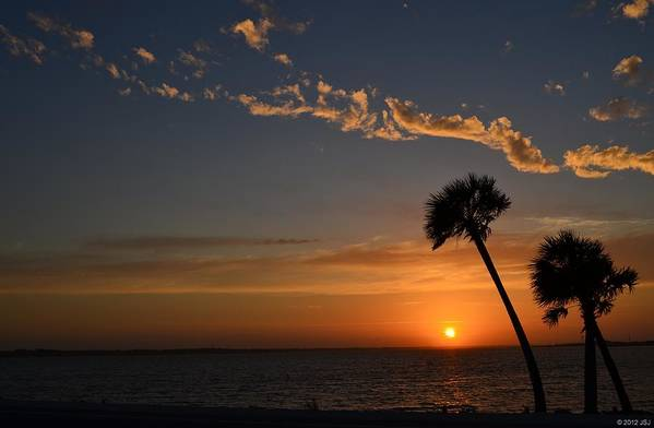 20120502 Print featuring the photograph 0502 Palms With Sunrise Colors On Santa Rosa Sound by Jeff at JSJ Photography