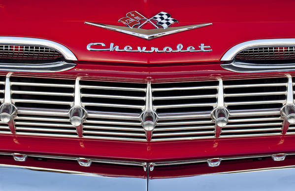 1959 Chevrolet Print featuring the photograph 1959 Chevrolet Grille Ornament by Jill Reger