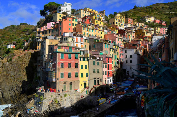 Riomaggiore Print featuring the photograph Riomaggiore by Barbara Walsh