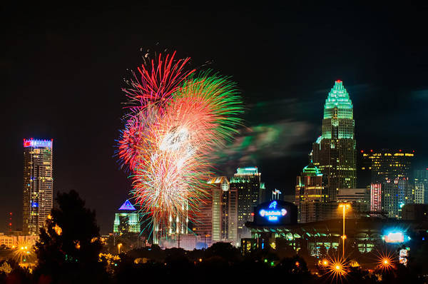 Carolina Print featuring the photograph 4th Of July Firework Over Charlotte Skyline by Alex Grichenko