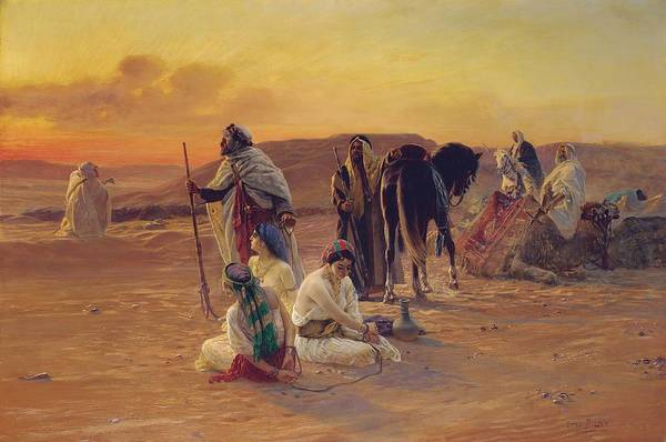 Rest Print featuring the painting A Rest In The Desert by Otto Pilny