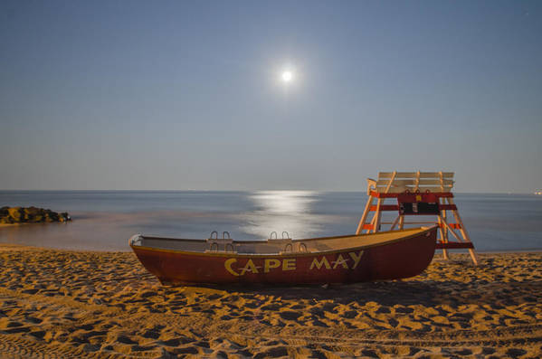 Cape Print featuring the photograph Cape May By Moonlight by Bill Cannon