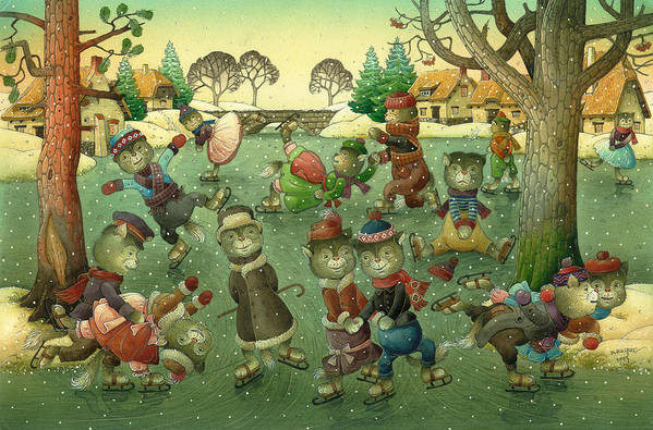 Christmas Greeting Cards Ise Skating Cat Holiday Print featuring the painting Cats On Skates by Kestutis Kasparavicius
