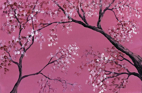 Landscape Print featuring the painting Cherry Blossoms by Darice Machel McGuire