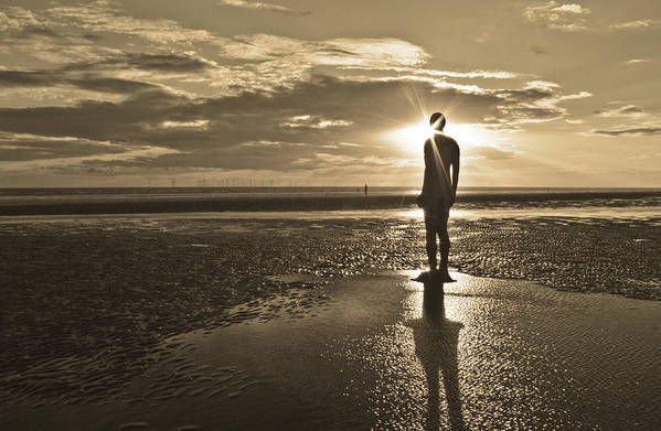 Crosby Beach Print featuring the photograph Crosby Beach Sepia Sunset by Paul Madden