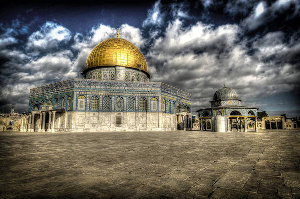 Jerusalem Print featuring the photograph Dome Of The Rock Closeup Hdr by David Morefield
