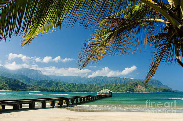 Bay Print featuring the photograph Hanalei Pier And Beach by M Swiet Productions