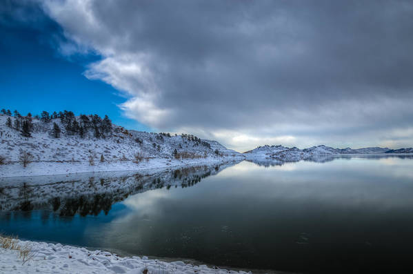 Horsetooth Reservoir Print featuring the photograph Horsetooth Reservoir Eastern Bank by Harry Strharsky