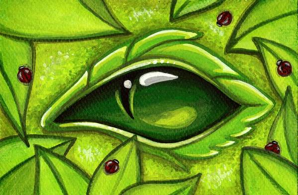 Green Dragon Print featuring the painting In The First Leaves Of Spring by Elaina Wagner