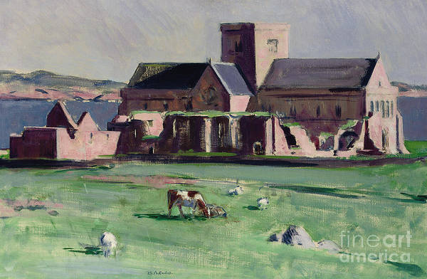 Cadell Print featuring the painting Iona Abbey From The Northwest by Francis Campbell Boileau Cadell