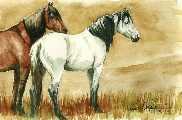 Kigers Print featuring the painting Kiger Mares by Linda L Martin