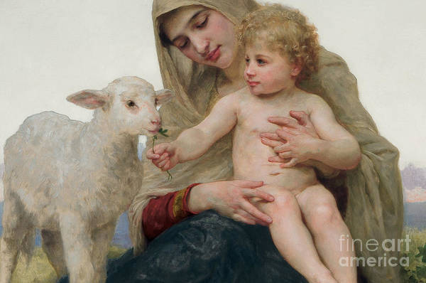 Virgin And Child Print featuring the painting La Vierge A Lagneau by William-Adolphe Bouguereau