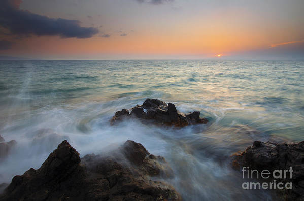 Maui Print featuring the photograph Maui Tidal Swirl by Mike Dawson
